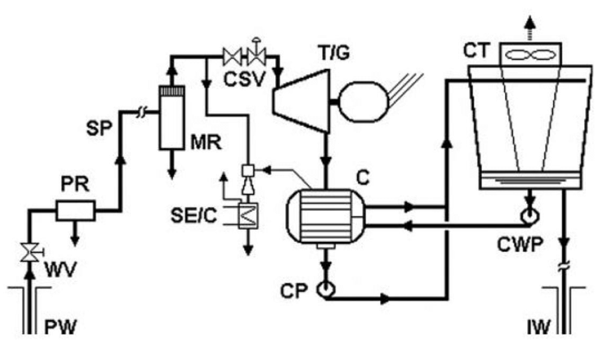 3: Schematic flow diagram of a dry-steam plant. The
