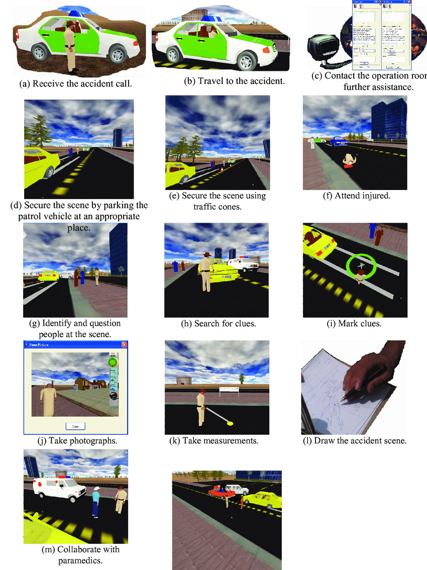 medium resolution of a typical virtual traffic accident investigation experience the drawing of the accident in figure l