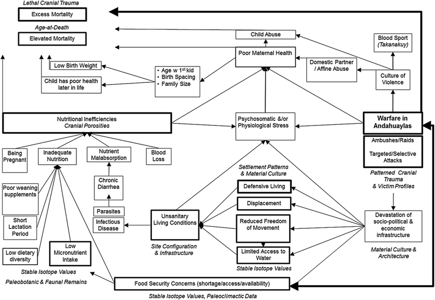 1 A schema of how warfare impacts diet, mobility, and