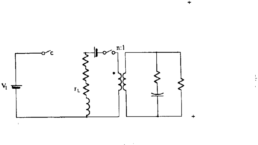 PWM flyback converter, (a) Circuit. Cb) Equivalent circuit