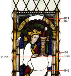 stained glass panel representing st barbara styria carinthia about 1430 samples [ 787 x 1407 Pixel ]