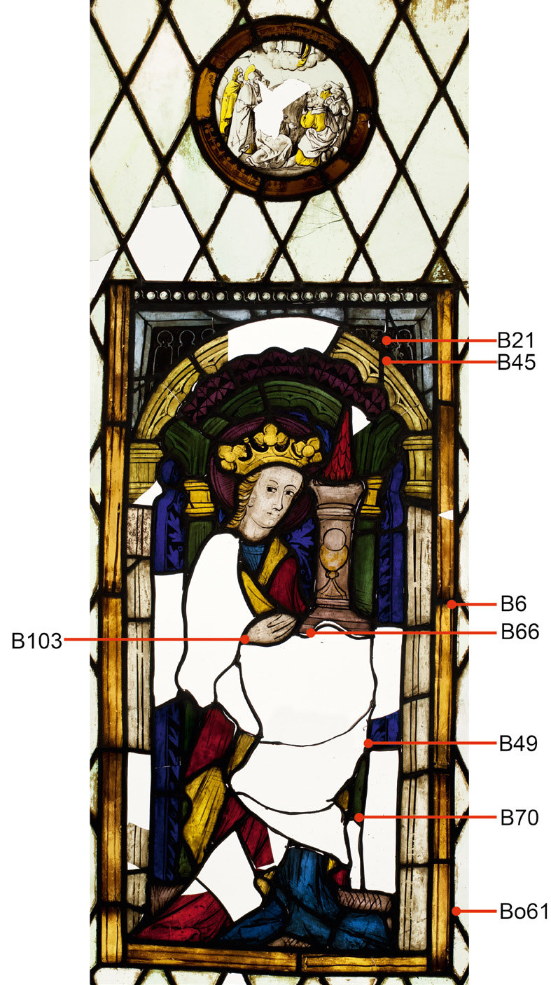 hight resolution of stained glass panel representing st barbara styria carinthia about 1430 samples