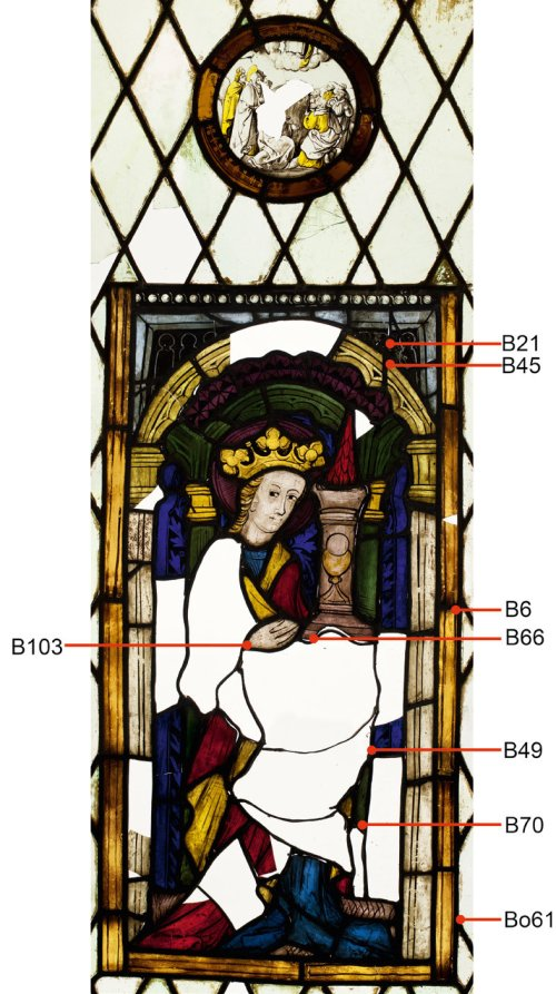 small resolution of stained glass panel representing st barbara styria carinthia about 1430 samples