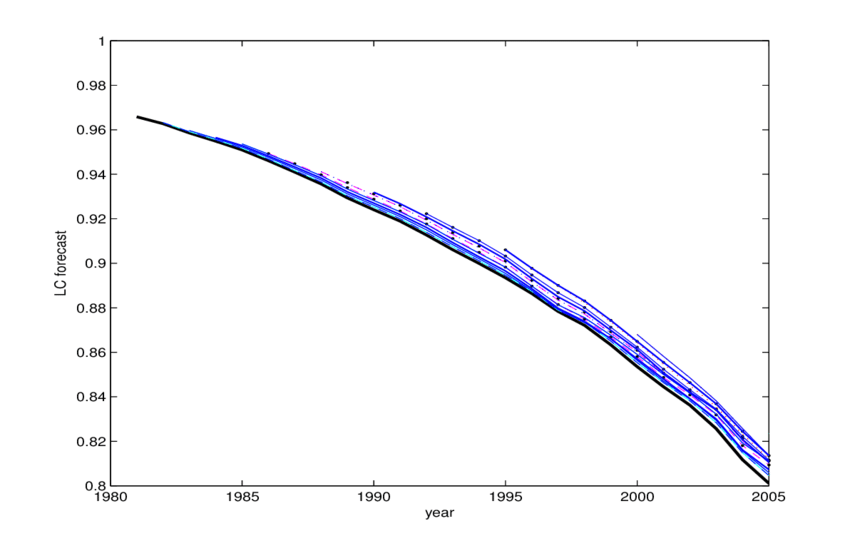 Survival curves computed at the beginning of each year t