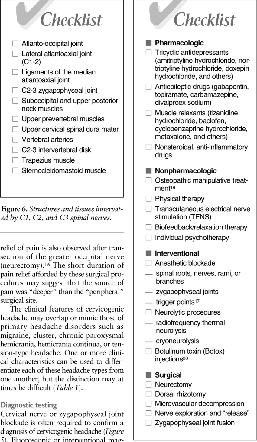 hight resolution of potential treatment interventions for cervicogenic headache