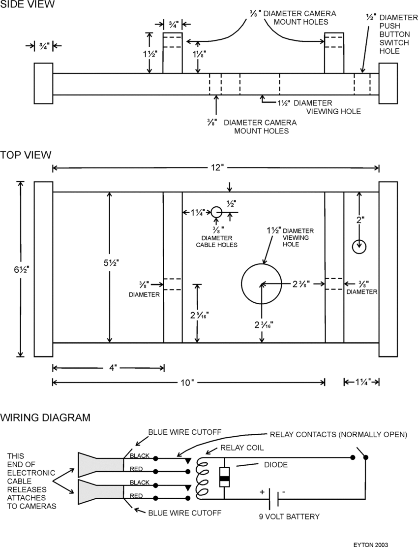 medium resolution of construction details for cameras mount and wiring diagram for electronic triggering