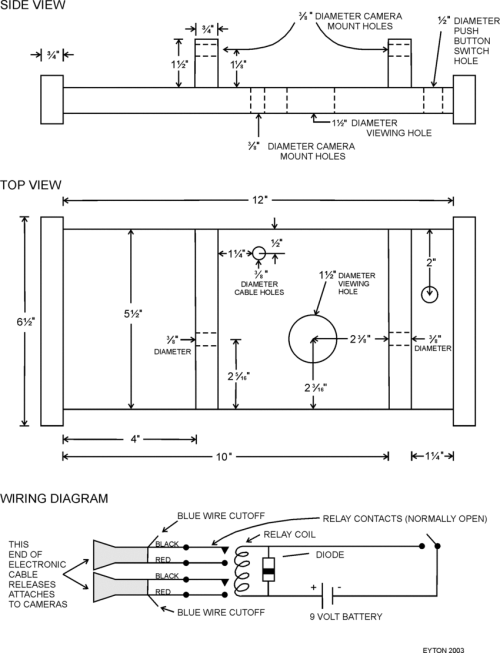 small resolution of construction details for cameras mount and wiring diagram for electronic triggering