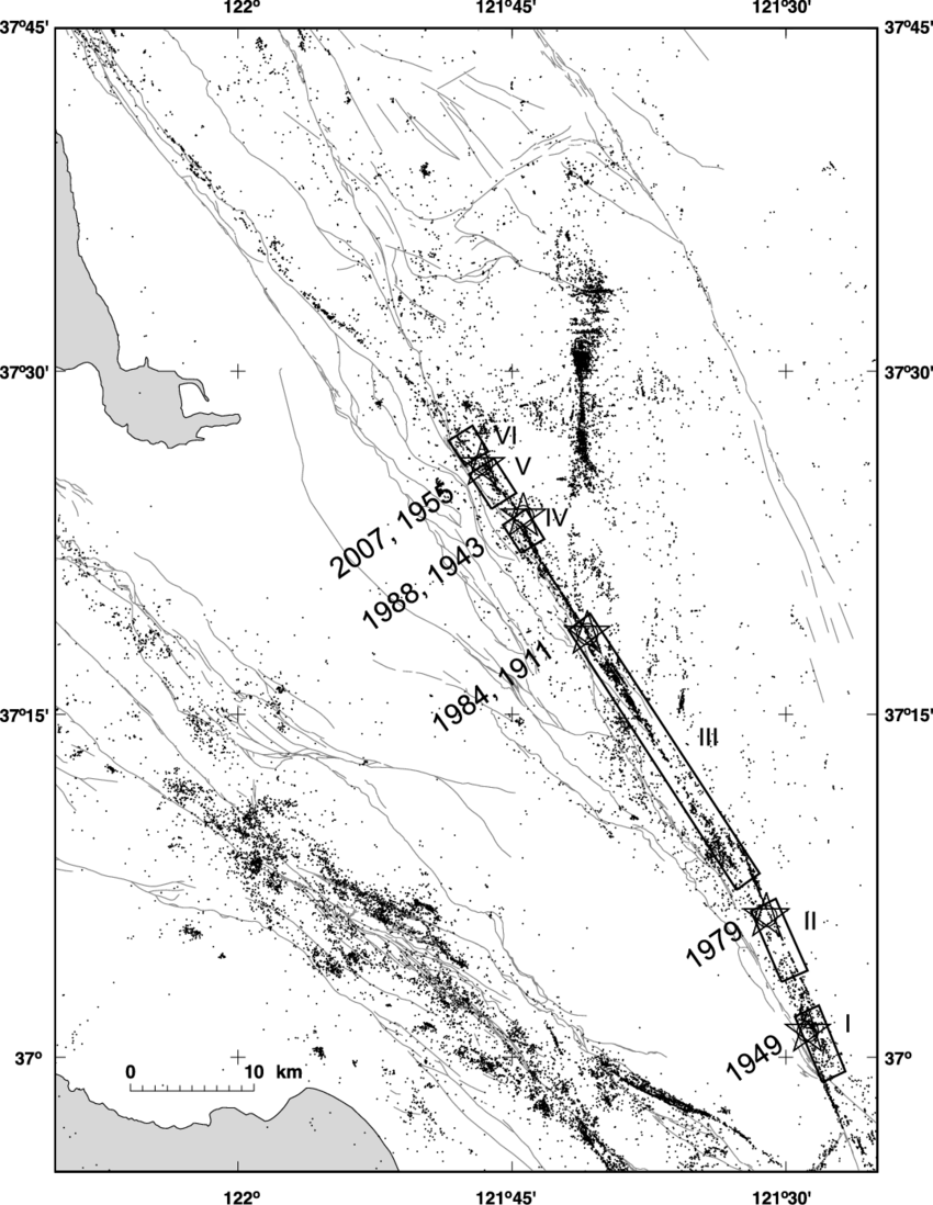 Seismicity in the south San Francisco Bay region
