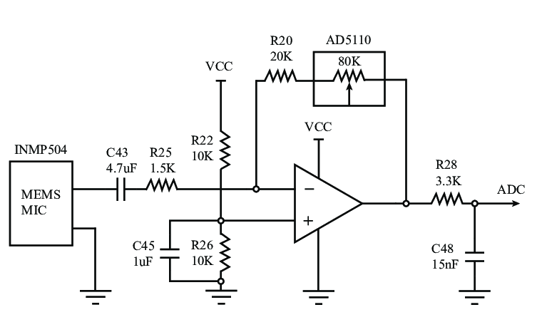 Microphone conditioning circuit with configurable gain