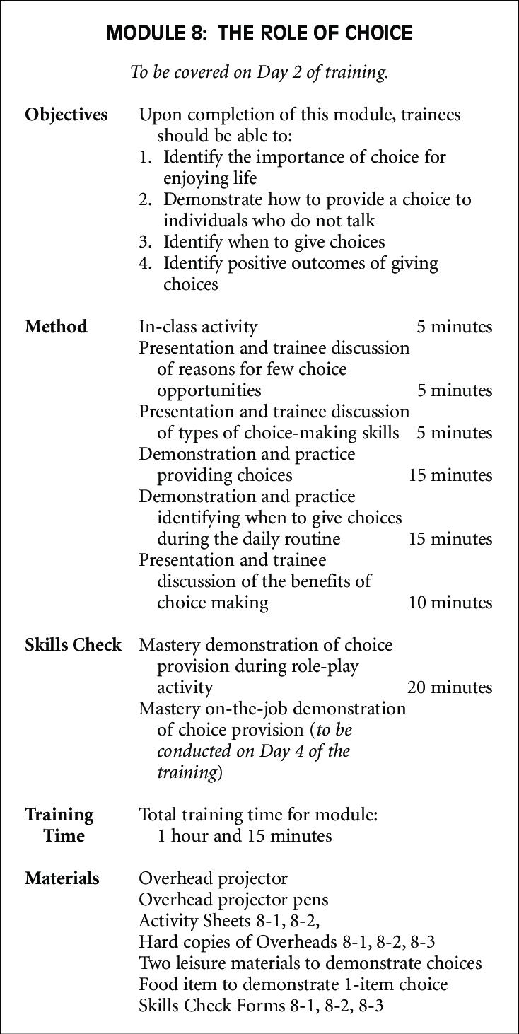 Sample Module Summary Sheet Summarizing The Training For