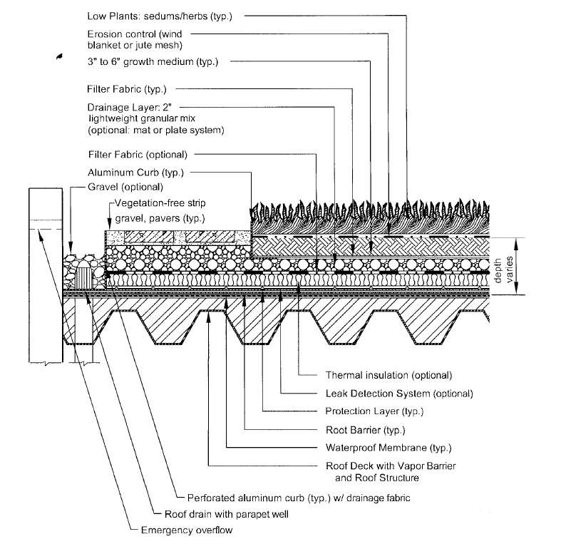 Cross section of extensive vegetated roof. (Source: VDCR