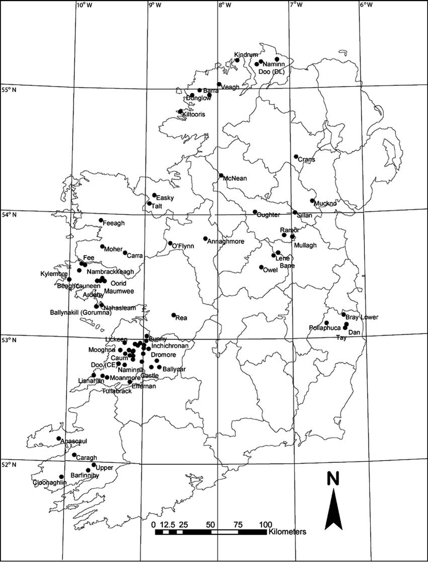 hight resolution of location of 72 study lakes included in the diatom training set for the irish ecoregion