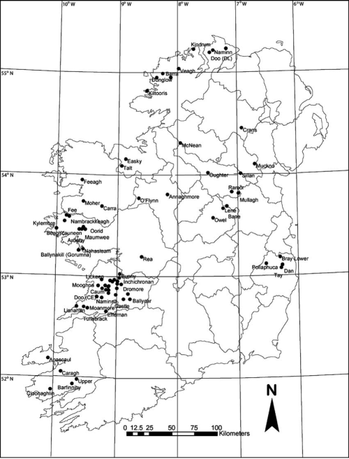small resolution of location of 72 study lakes included in the diatom training set for the irish ecoregion