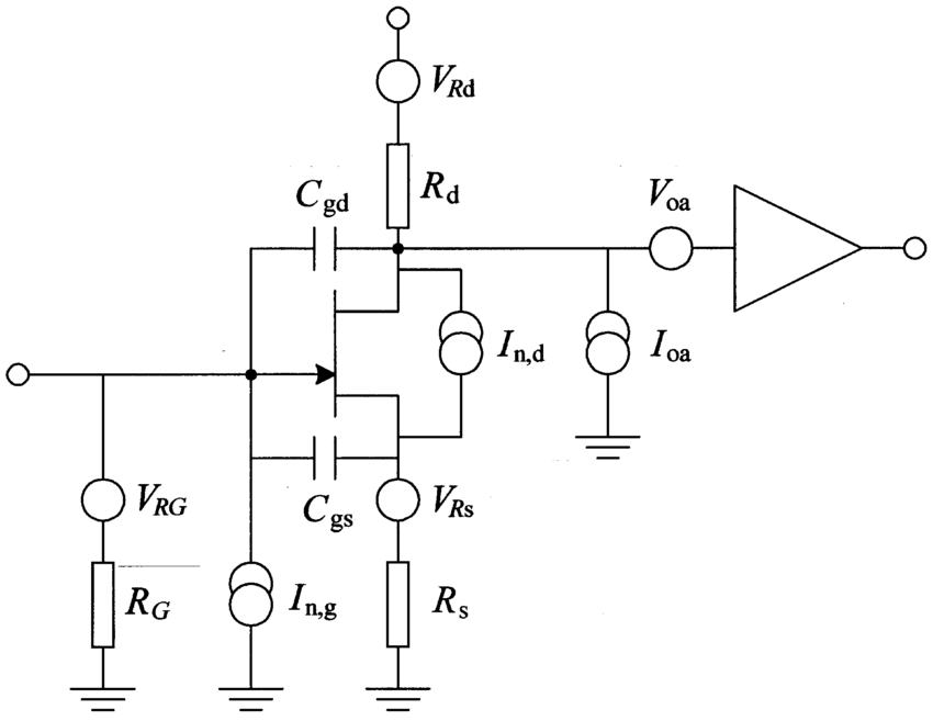 Simplified schematic diagram of a common-source JFET