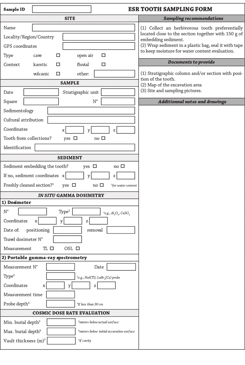 hight resolution of sampling form for esr dating of fossil tooth fig 2 fiche d