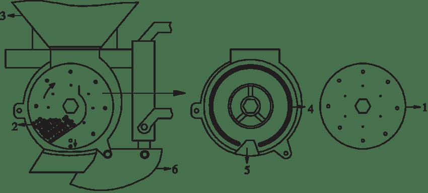 The metering mechanism of the precision vacuum seeder: 1