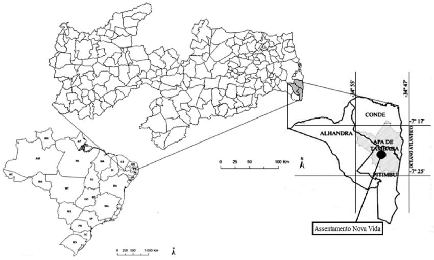 Localização da APA Tambaba e do assentamento Nova Vida