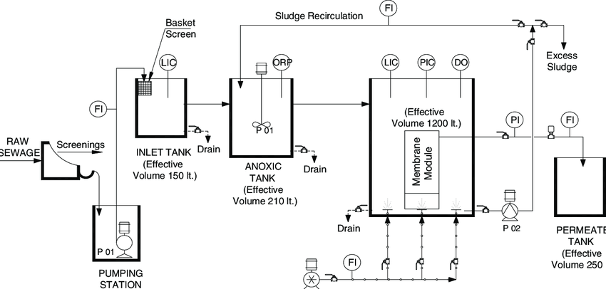 Process flow scheme of the pilot plant membrane bioreactor