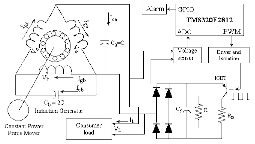 Schematic diagram of a three-phase SEIG with a DSP-based