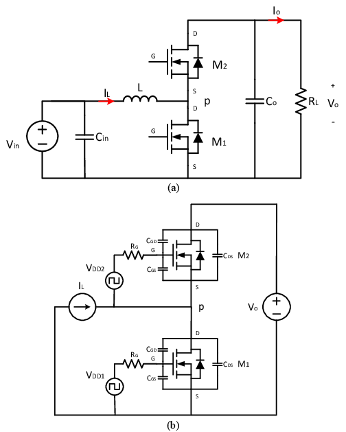 Schematic of the synchronous boost converter under study