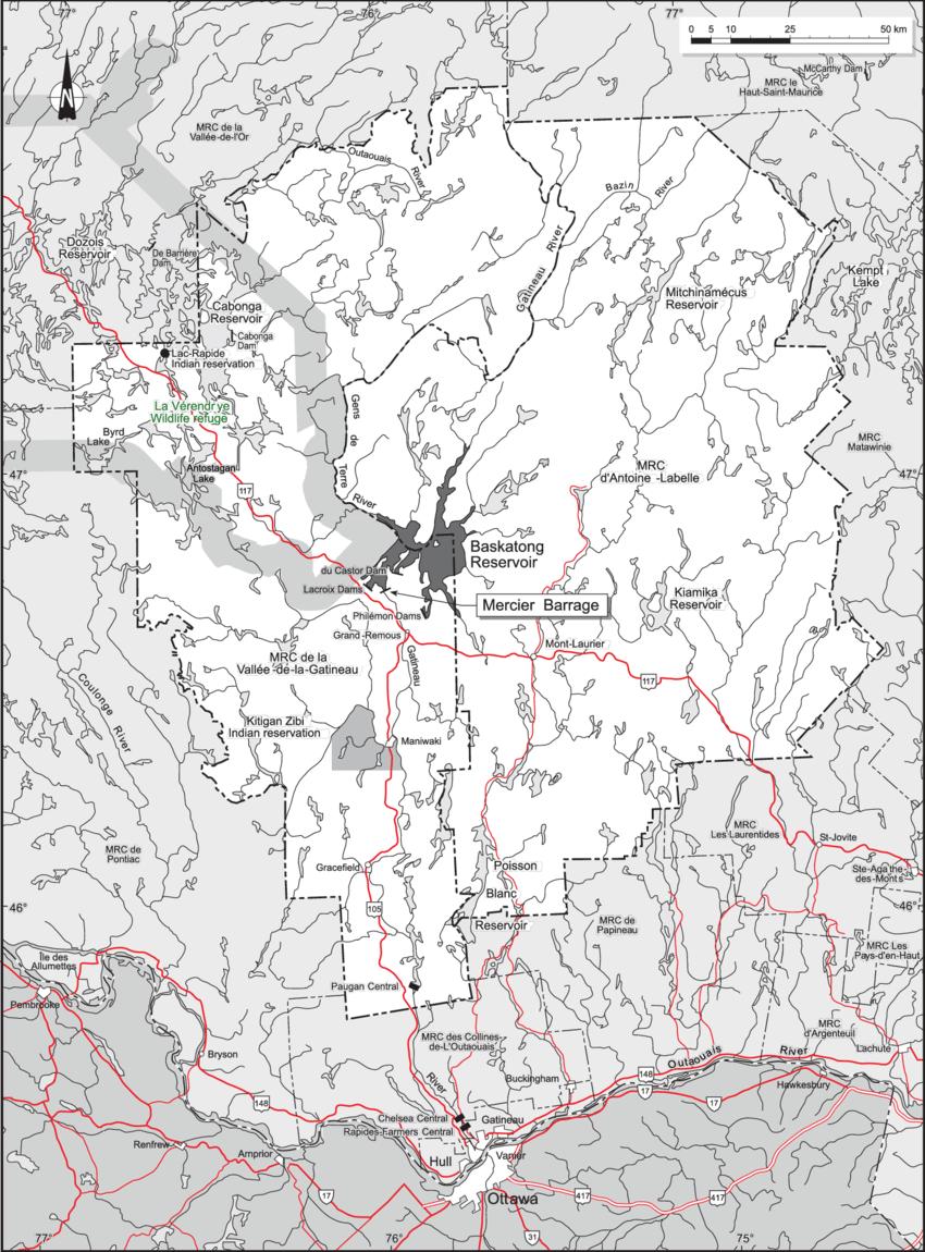 medium resolution of location map of baskatong reservoir qu bec canada download scientific diagram