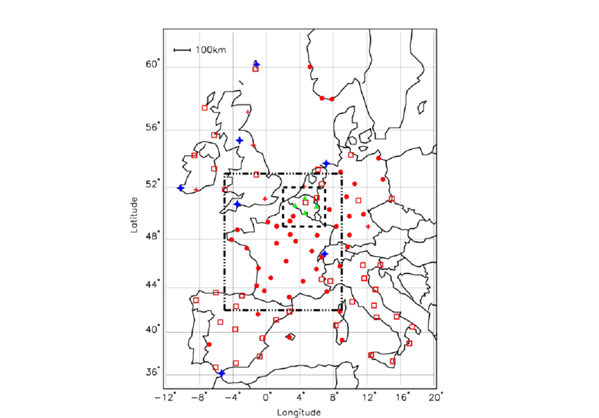 Sensor positions for MTRG are plotted in red with a