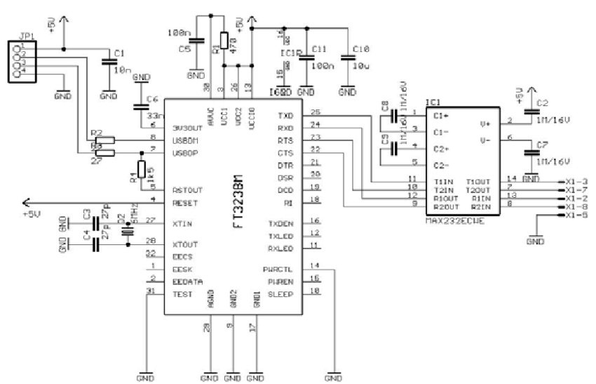 Electric circuit USB2COM for the connection between the