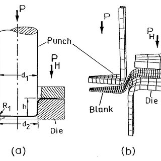 Schematic diagram of the deep-drawing of a cylindrical cup