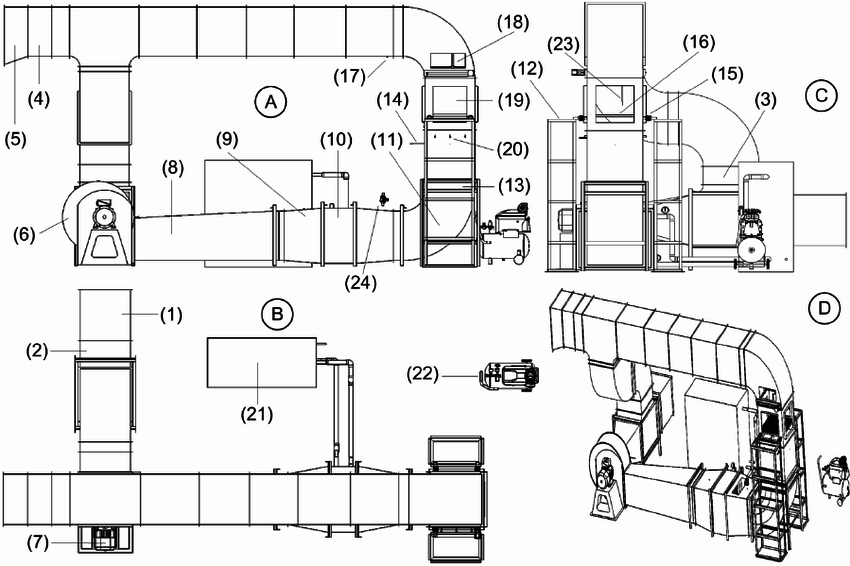 Schematic diagram of the LC dryer: A. Front view, B. Top
