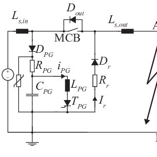 TRV waveform for two cases: Red line: Circuit does not