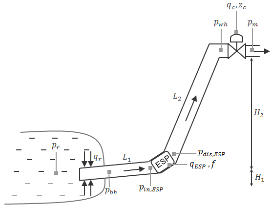 Schematic of an oil producing well fitted with ESP