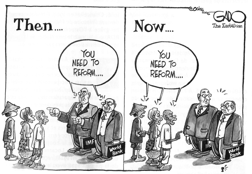Cartoon on misguied structural reform programs of IMF and