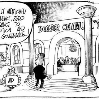 cartoon on misguided aid, Good Governance, and the new