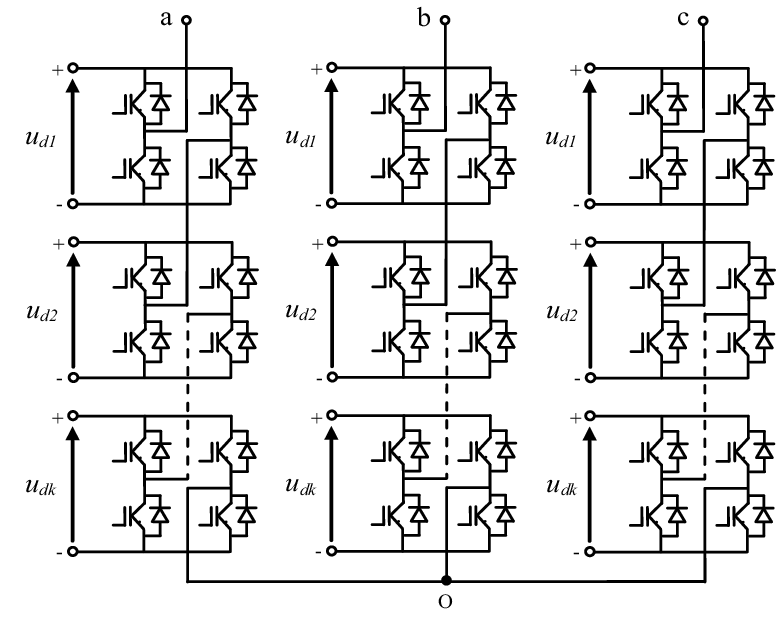 Three-phase structure of a multilevel converter with k H