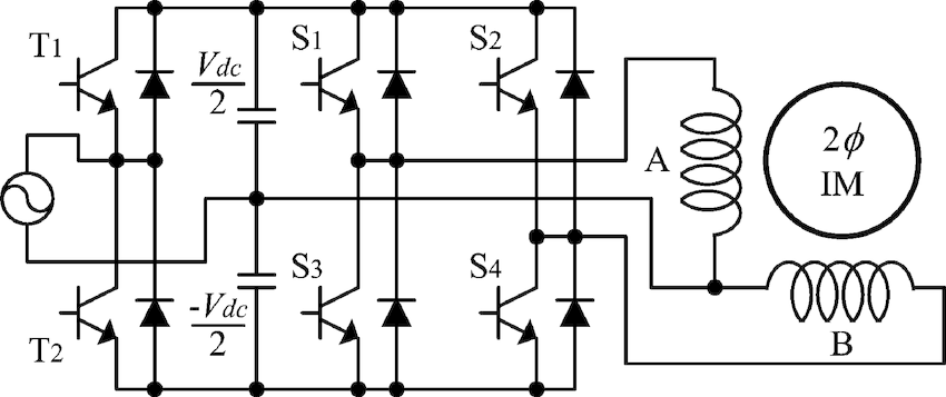 The two-phase induction motor drives. (a) Half-bridge