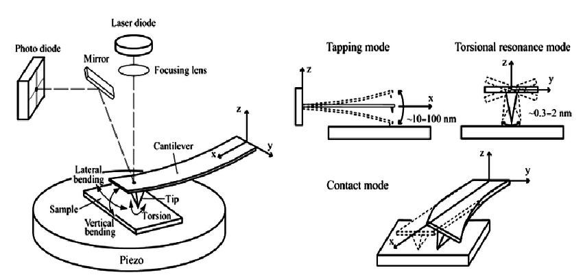 Atomic Force Microscopy. Schematic diagram of AFM and