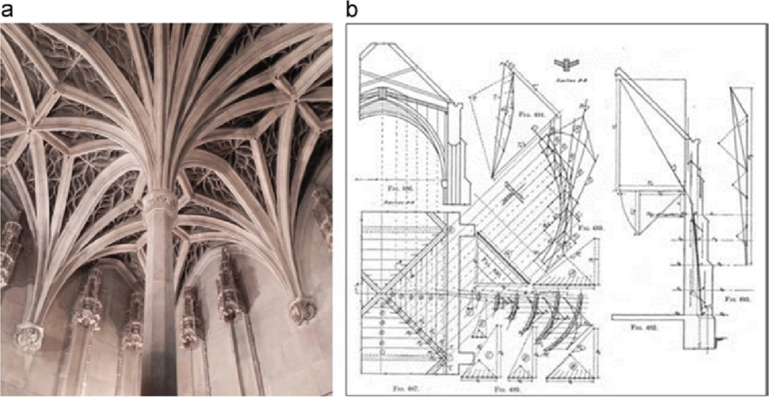 a Gothic ribbed vault b the web of the vault is cut