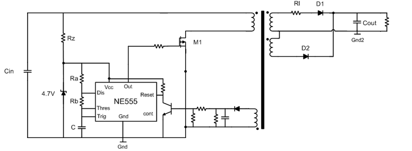Circuit diagram of the Forward-Flyback Converter with PSS
