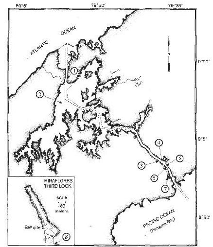 Map of the Panama Canal showing the location of the