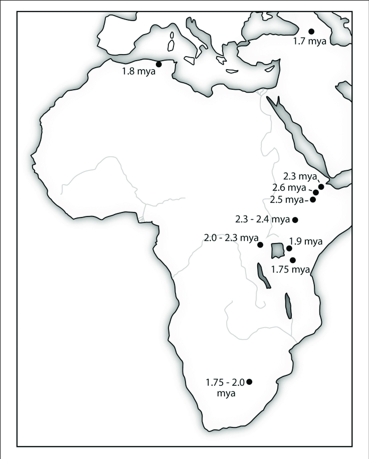 | The location of stone tools manufactured using Oldowan