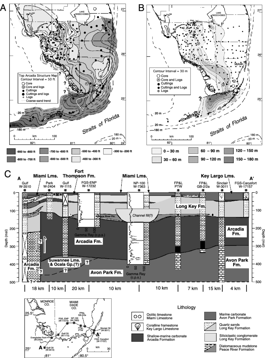 hight resolution of  a shaded structure contour map of top of the middle miocene arcadia formation limestone