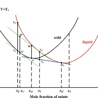 Schematic graph of the free energy vs mole fraction of
