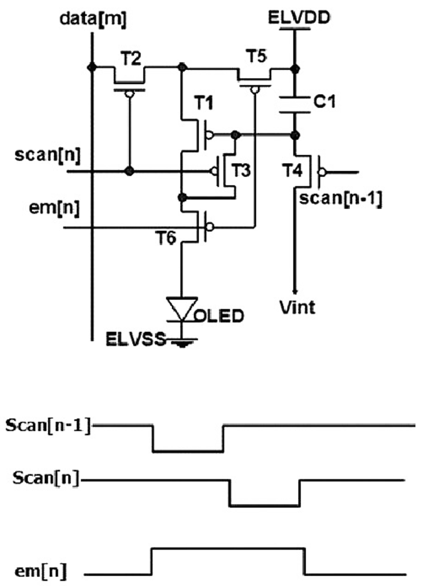 Schematic and timing diagram of 6T-1C AMOLED pixel circuit