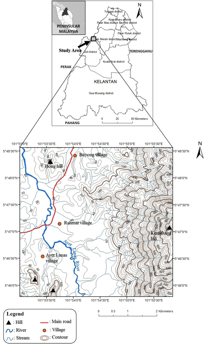 hight resolution of location map and base map of the study area