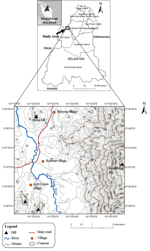 small resolution of location map and base map of the study area