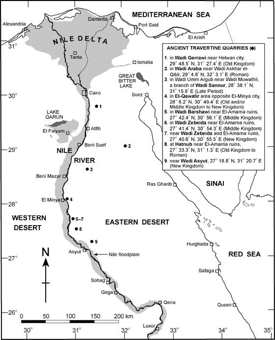 A map of a portion of Egypt, showing the locations of