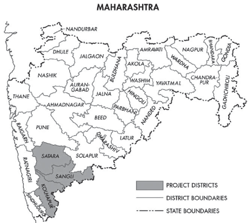 1 Map of Maharashtra, Highlighting Case Study Districts
