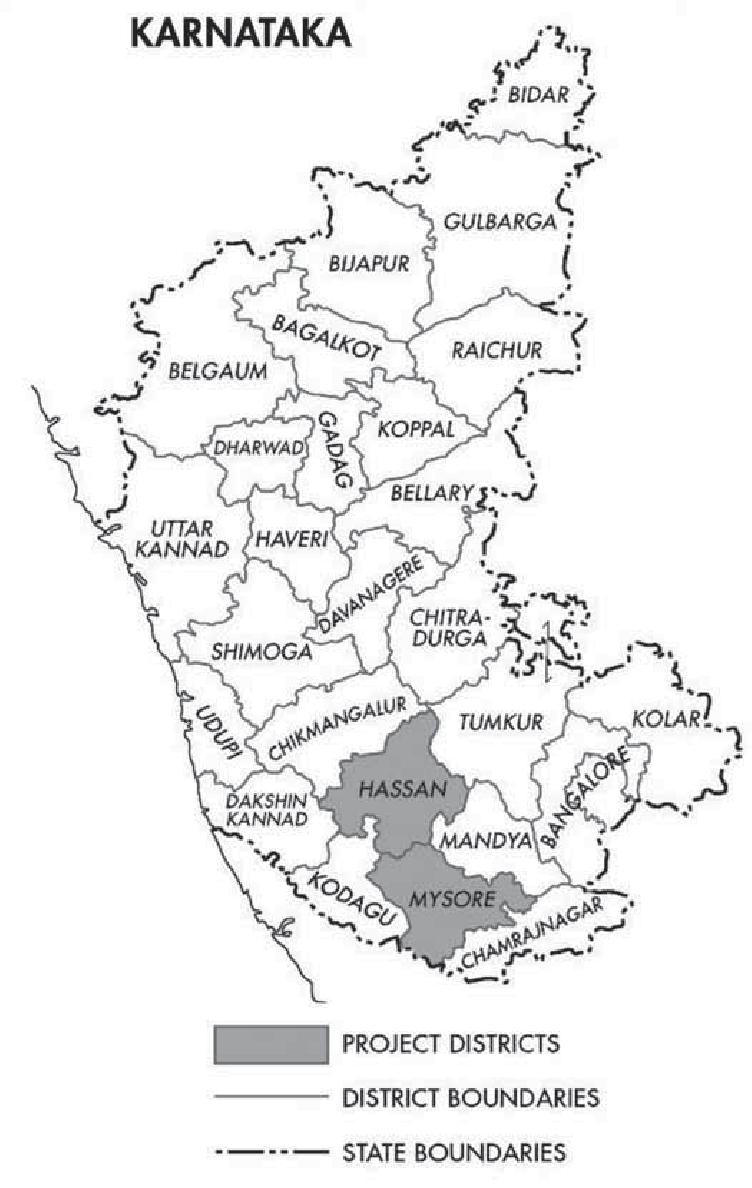 1 Map of Karnataka, Highlighting Case Study Districts