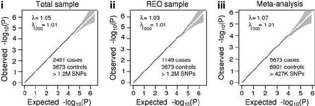 Quantile–quantile plots for the association analyses of (i