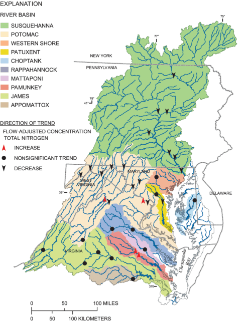 small resolution of trends in flow adjusted concentrations for total nitrogen chesapeake bay watershed 1985